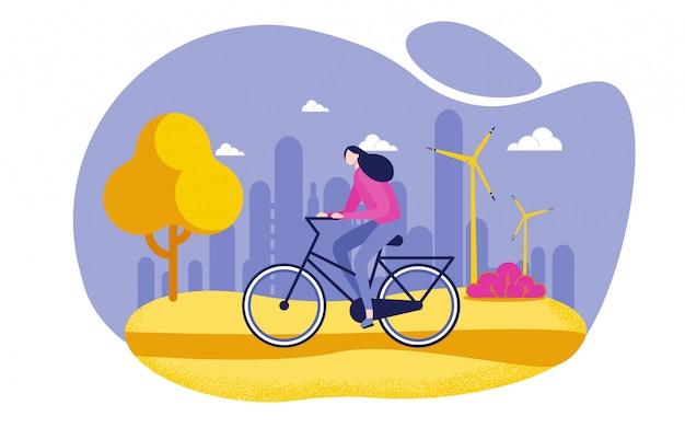 Bicicleta da equitação da mulher, estilo de vida saudável liso. Vetor Premium