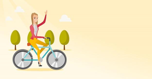Bicicleta de equitação de mulher Vetor Premium