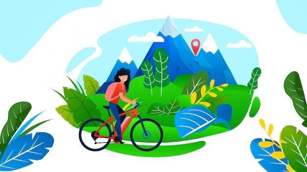 Bicicleta de equitação de mulher. Vetor Premium
