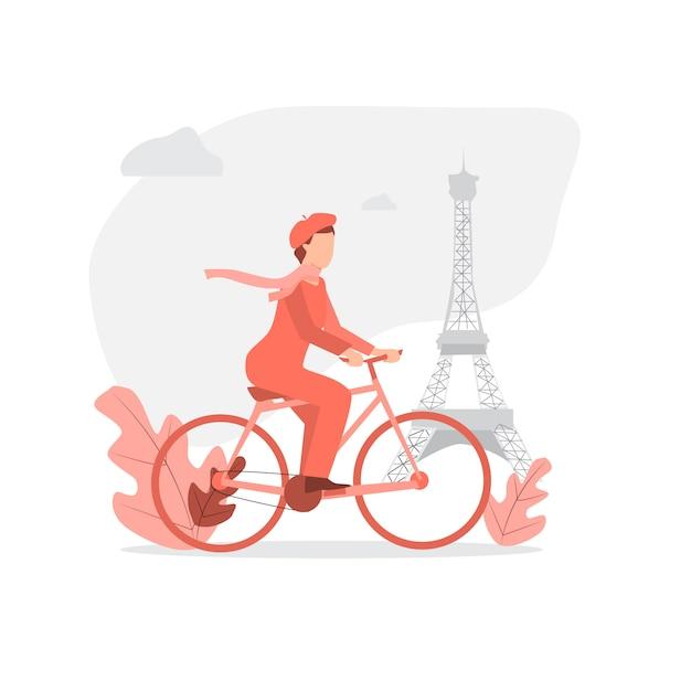 Bicicleta de equitação homem francês em paris Vetor Premium