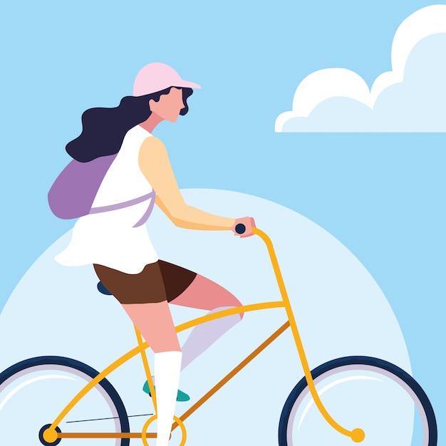 Bicicleta de equitação jovem com céu e nuvens Vetor Premium