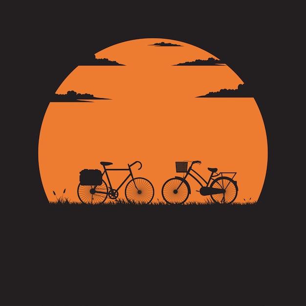Bicicleta de silhueta dois no prado com o pôr do sol para o fundo Vetor Premium