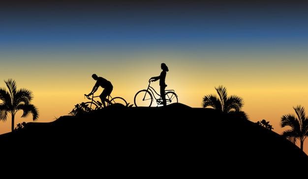 Bicicleta de sombra e pessoas Vetor Premium