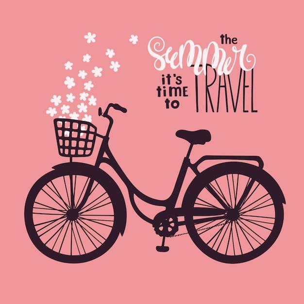 Bicicleta de vetor em estilo vintage. lettering: o verão é hora de viajar. Vetor Premium