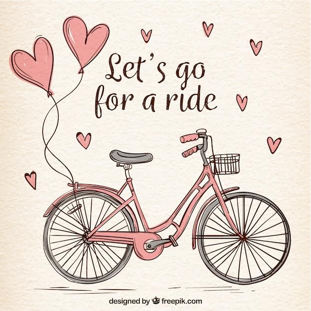 Bicicleta desenhada a mão com corações bonitos Vetor grátis