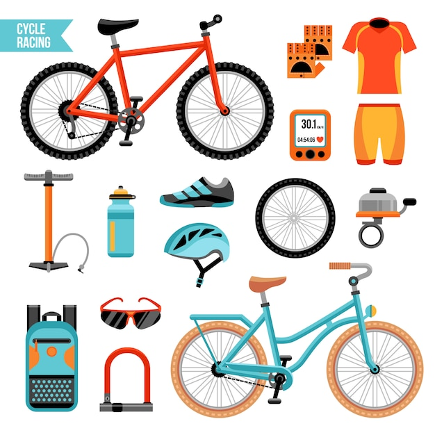 Bicicleta e conjunto de acessórios de ciclismo Vetor grátis