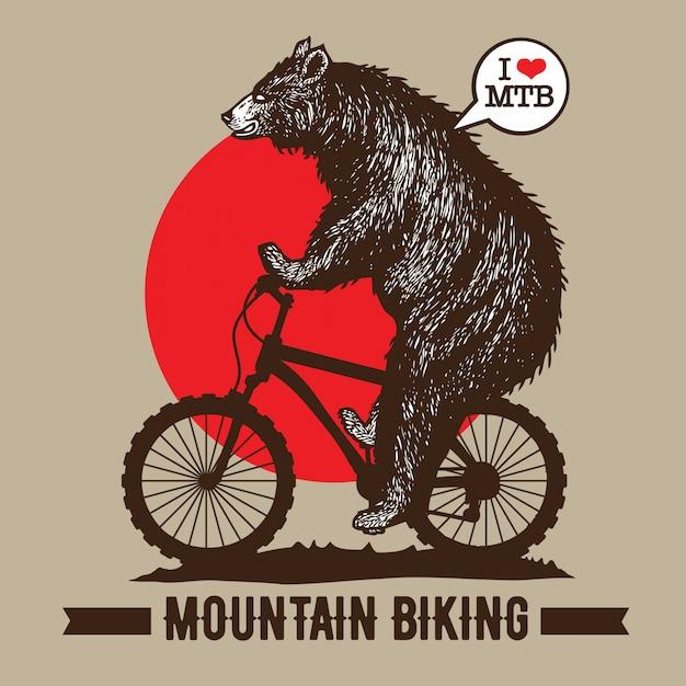Bicicleta mountain bike Vetor Premium