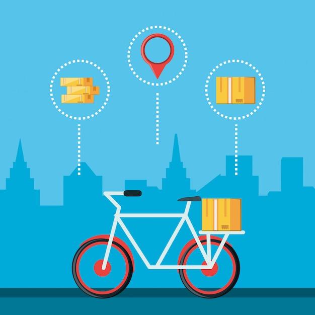 Bicicleta para ícone isolado de serviço logístico Vetor Premium