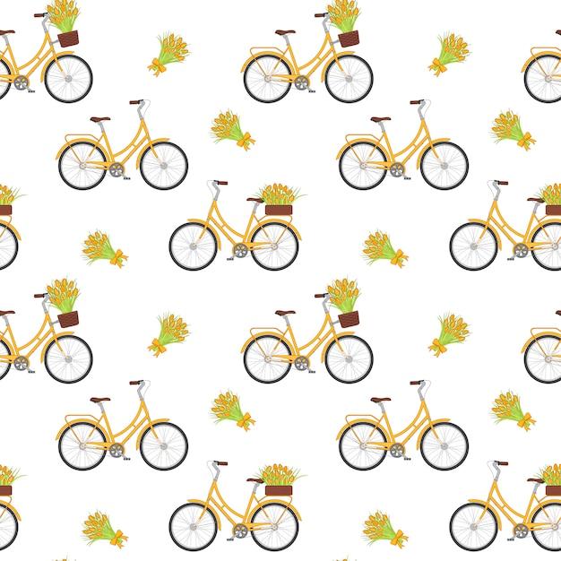 Bicicleta retro amarela com as tulipas na cesta floral e no tronco. Vetor Premium