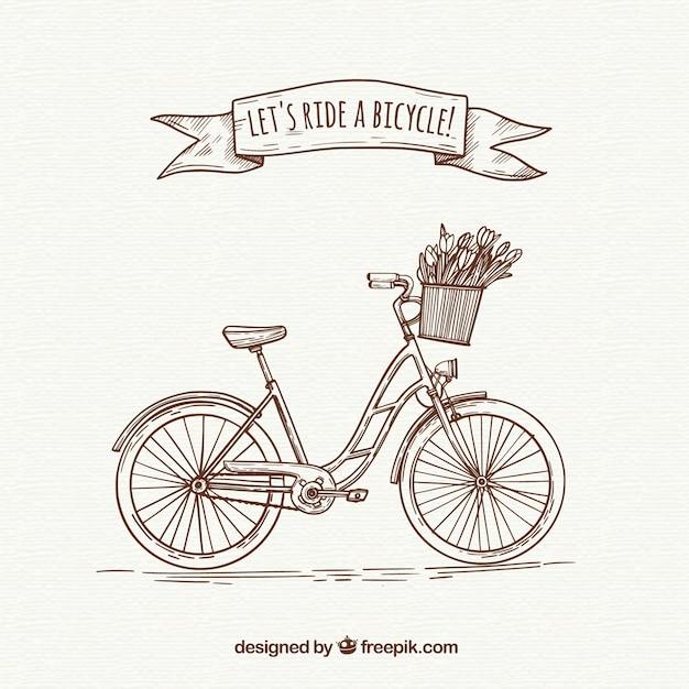 Bicicleta retro com estilo desenhado a mão Vetor grátis
