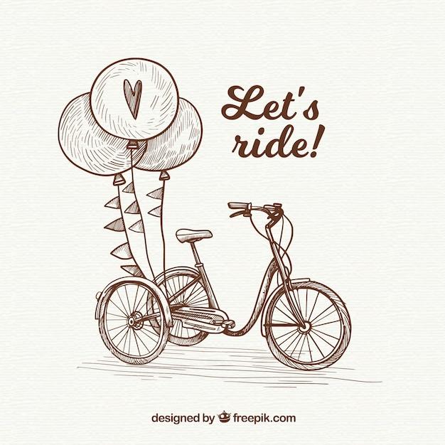 Bicicleta vintage e balões desenhados a mão Vetor grátis