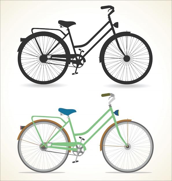 Bicicleta vintage retrô, isolada no fundo branco Vetor Premium
