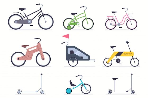Bicicletas infantis, patinete, carrinhos, bicicleta electro e madeira para meninos e meninas Vetor Premium