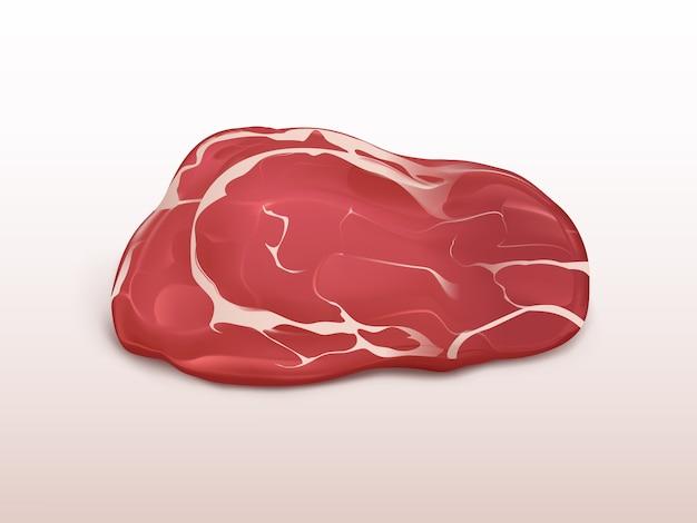 Bife do mármore da carne fresca isolado no fundo branco. grande pedaço de carne crua. Vetor grátis