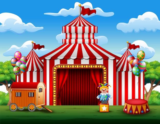 Big barracas de circo branco e vermelho fundo Vetor Premium