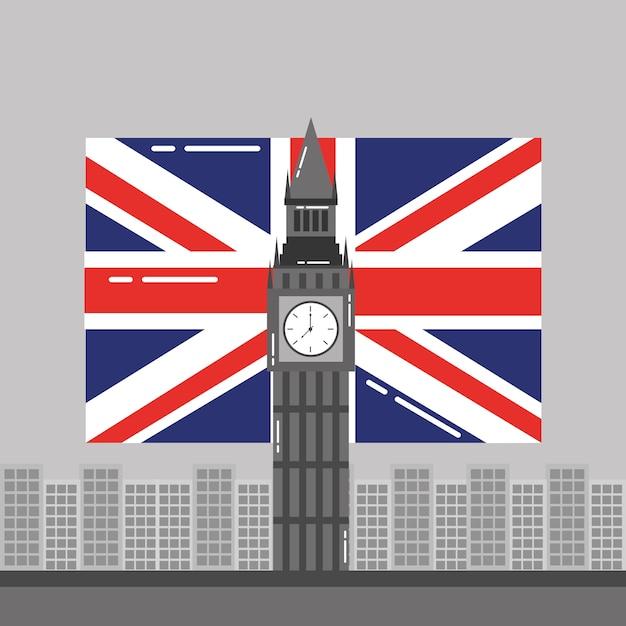 Big ben londres bandeira e edifícios tower landmark Vetor Premium