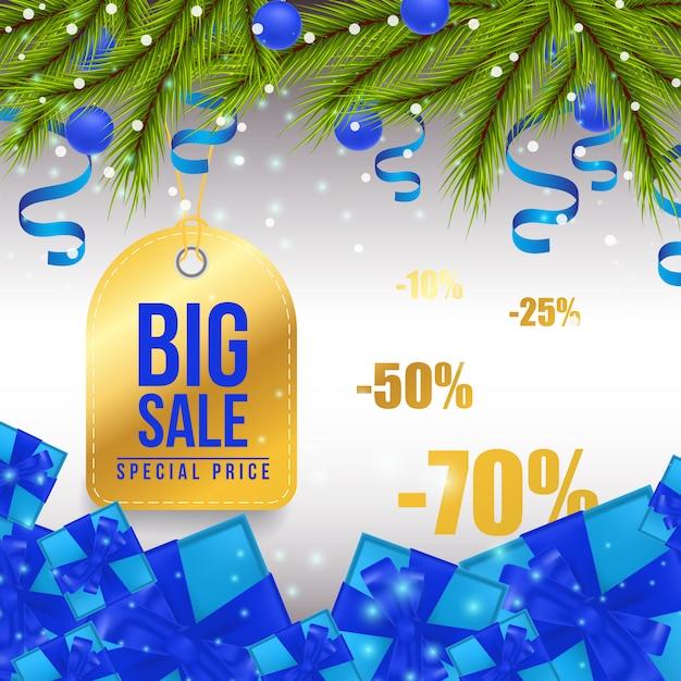 Big christmas sale design de banner brilhante Vetor grátis