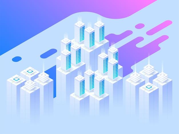 Big data center e tecnologia de armazenamento em nuvem. cabeçalho da página de destino. computador mainframe, conceito de centro de processamento. ilustração isométrica. Vetor Premium