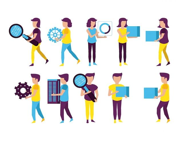 Big data e colegas de trabalho Vetor Premium