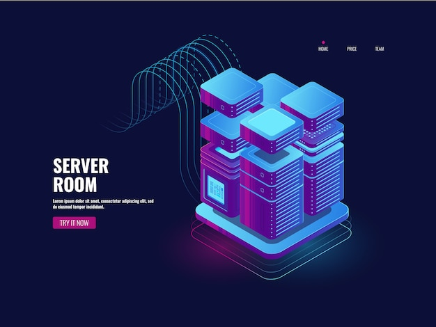 Big data processing, tecnologia blockchain, sistema de acesso a token, sala de servidores Vetor grátis