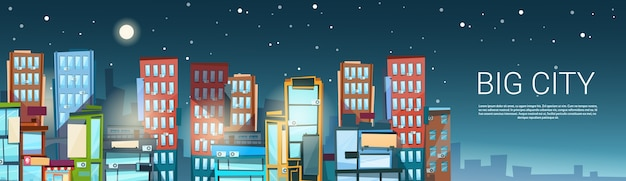 Big modern city view Vetor Premium