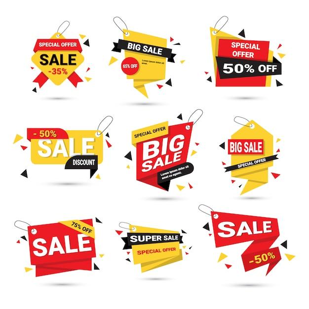 Big sale banners set coleção de tags de modelo de oferta especial isolada Vetor Premium