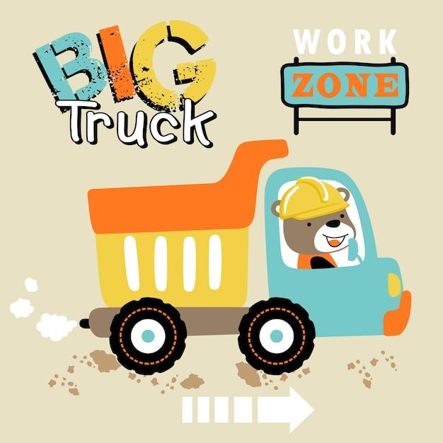 Big truck cartoon com driver bonito Vetor Premium