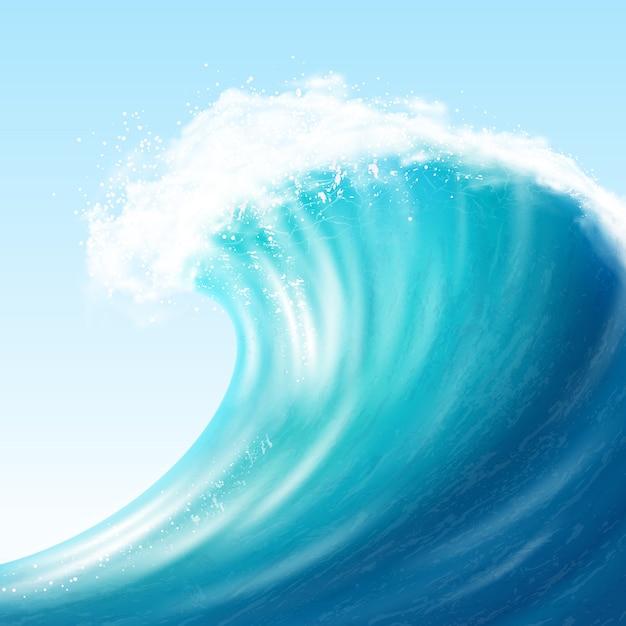 Big wave realista Vetor grátis