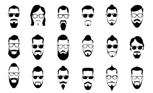 Bigode masculino, barba e corte de cabelo. silhuetas de bigodes vintage, penteado de homem e cara cara retrato silhueta vector conjunto de ícones Vetor Premium