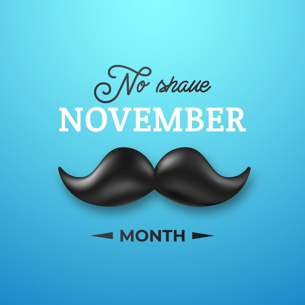 Bigode preto brilhante para o mês de novembro sem barbear. Vetor Premium