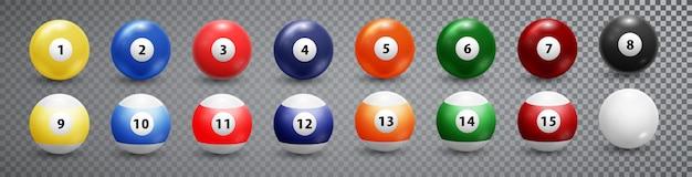 Bilhar, coleção de bolas de bilhar. Vetor Premium