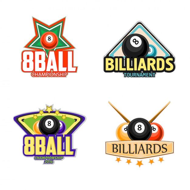 Bilhar, piscina e snooker ícones do esporte Vetor Premium
