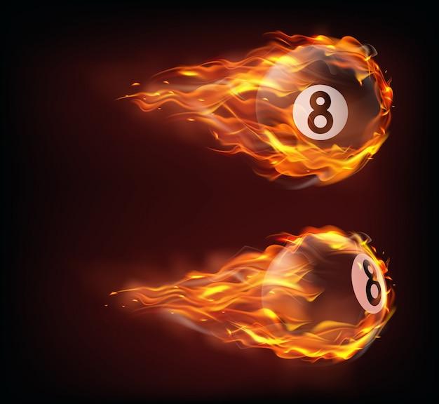 Bilhar preto voando oito bolas de fogo Vetor grátis