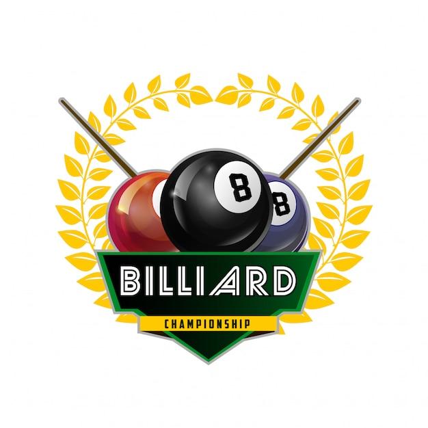 Bilhar, sinuca, e, snooker, desporto, ícone Vetor Premium