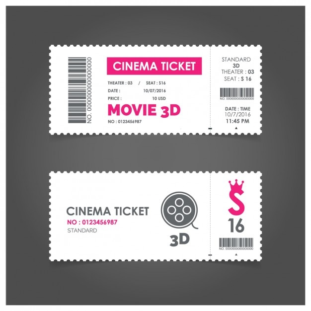 Bilhete de cinema com detalhes rosa Vetor grátis