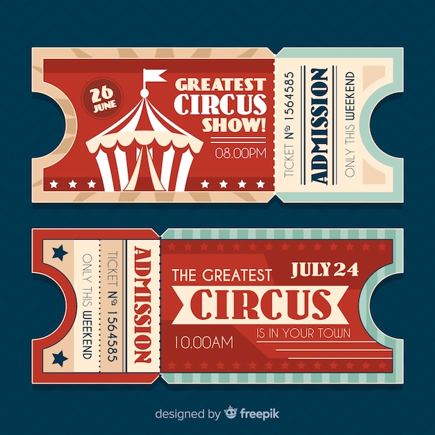 Bilhete de circo vintage Vetor grátis