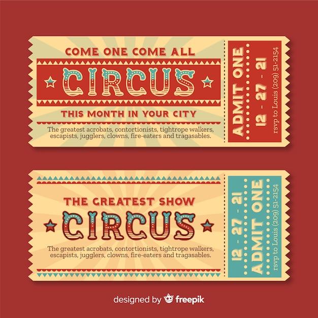 Bilhete de circo Vetor grátis