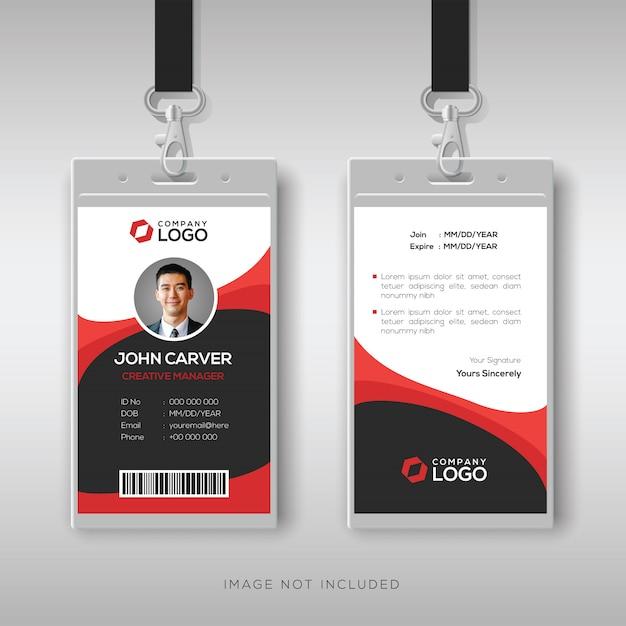 Bilhete de identidade profissional com detalhes vermelhos Vetor Premium