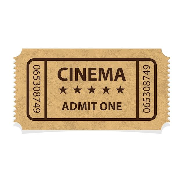 Bilhete de papelão de cinema retrô em fundo branco Vetor Premium