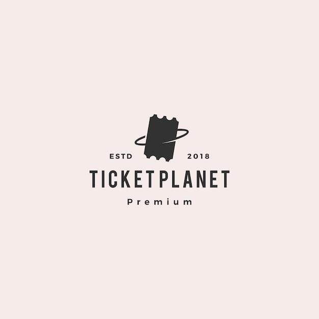 Bilhete de planeta logo vector icon ilustração Vetor Premium