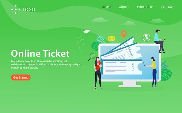 Bilhete on-line, modelo de site, em camadas, fácil de editar e personalizar, conceito de ilustração Vetor Premium