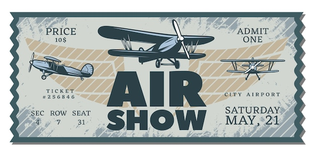 Bilhete vintage air show pass Vetor grátis