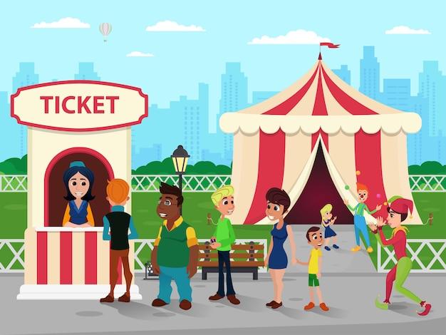 Bilheteria no circus, vendedor e fila de pessoas Vetor Premium