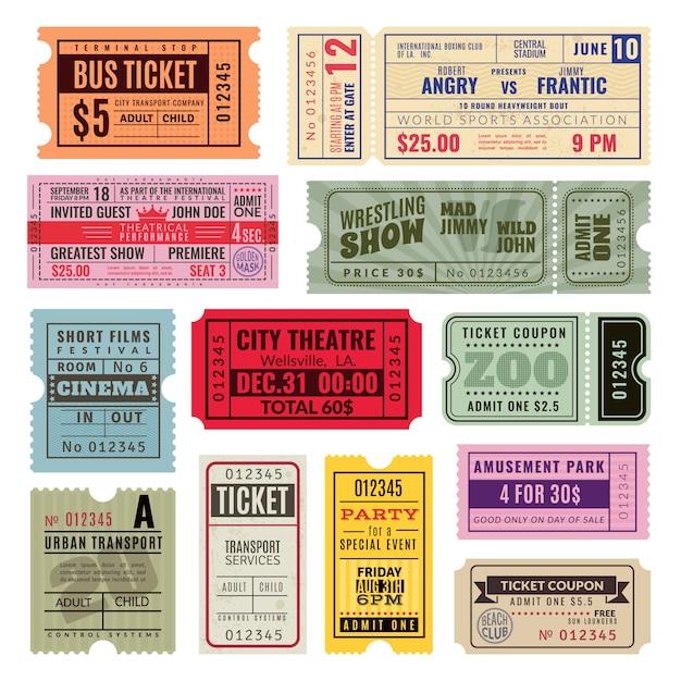 Bilhetes antigos. bilhete de mão de festa de circo, cinema e concerto. voucher em papel antigo, cupom de rifa de cruzeiro. modelos Vetor Premium