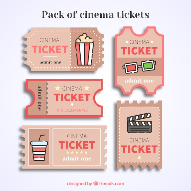 Bilhetes de cinema do vintage com detalhes vermelhos Vetor grátis