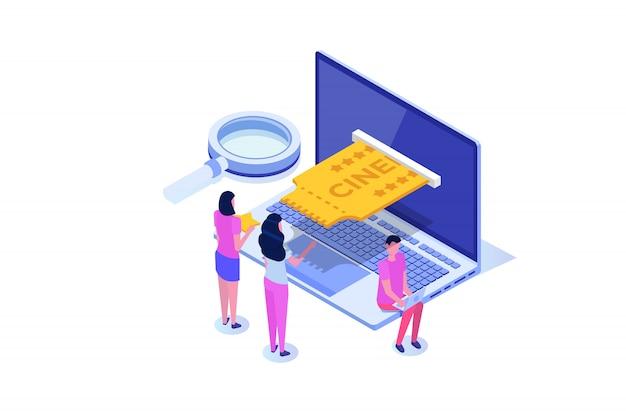 Bilhetes de cinema on-line reserva conceito isométrico. aplicativo móvel. ilustração Vetor Premium