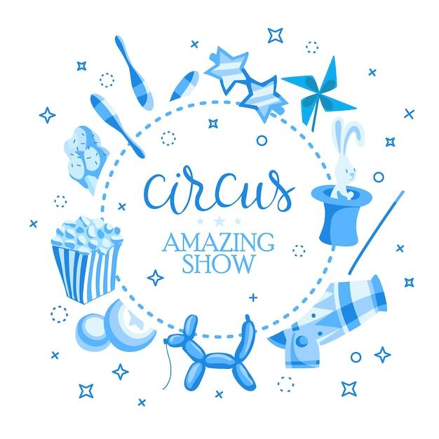 Bilhetes de eventos para show de mágica em estilo cartoon com bandeiras de tenda de circo Vetor grátis