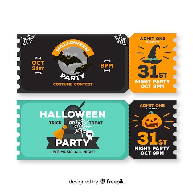 Bilhetes de halloween para 31 de outubro Vetor grátis
