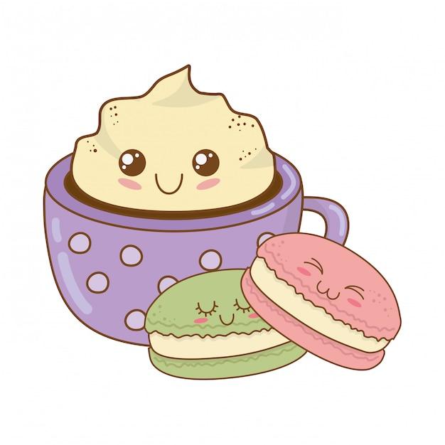 Biscoito doce com personagens de kawaii de pastelaria de caneca de chocolate Vetor Premium