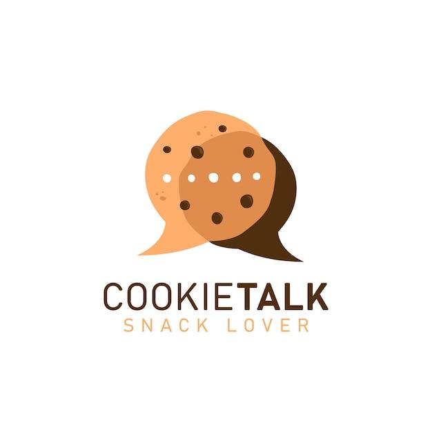 Biscoitos cookies falam logotipo ícone símbolo com dois biscoitos em quadrinhos bolha fala discussão conversa forma ilustração Vetor Premium